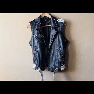 TopShop Distressed Soft Leather Sleeveless Jacket